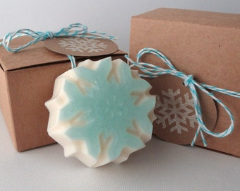 Winter Snowflake - Goat Milk and Glycerin Soap - Christmas gift - party favor - soap favor - winter gift - for her - baby shower - wedding