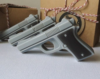 Gun Soap - gift for men - Target Practice - Mini Pistol Box Set of 4 - Goat Milk and Glycerin Soap  - Scented Black for Men - Shaped Soap