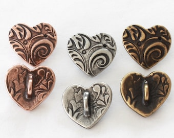 Amor Heart Buttons, TierraCast copper, brass plated & antiqued natural pewter, 15.4mm, 2mm shank, jewelry parts + clasps, or for clothing