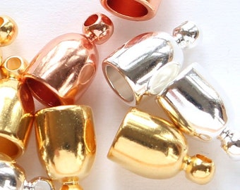 18a3bfbbf2 4mm Bullet End Caps, Gold, Silver & Copper plated brass, Kumihimo or leather  cord glue-in dome cord ends, shiny endcaps, 3.9mm inner width