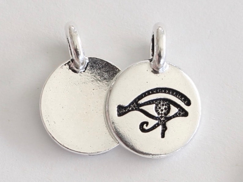 Egyptian protective symbol plated lead free pewter 10 Silver Eye of Horus Charms 10pack  G19a-10 TierraCast antiqued 2.6mm eyelet