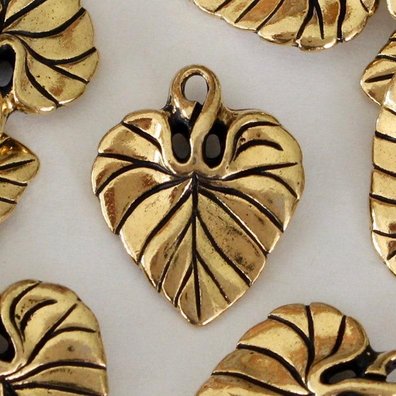 4 Gold Violet Leaf Charms, TierraCast lead free plated pewter, 18 57mm, 3D  Leaf Pendants, 3d + same on both sides, leaves (4/pack) |H09b-4