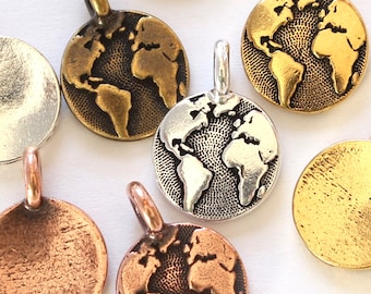 World Charms, TierraCast 16.6mm silver, gold, copper & brass, Earth Day charms, small continents, map pendants, globe charms, 2.6mm loop
