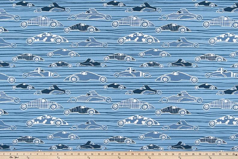 Lead Macon Ivory Curtains Race Car Blue Navy White Pair of Rod Pocket Curtain Panels RaceCar Cars Premier Prints Race Day Sky
