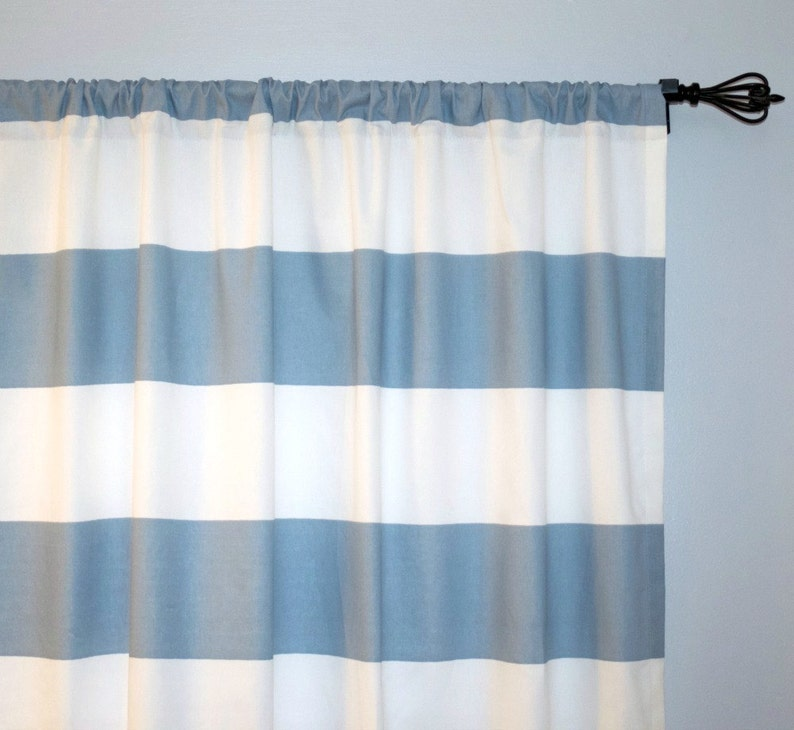 Pair Rod Pocket panels Choose size Premier Prints Carlo Black White Black stripe Curtains