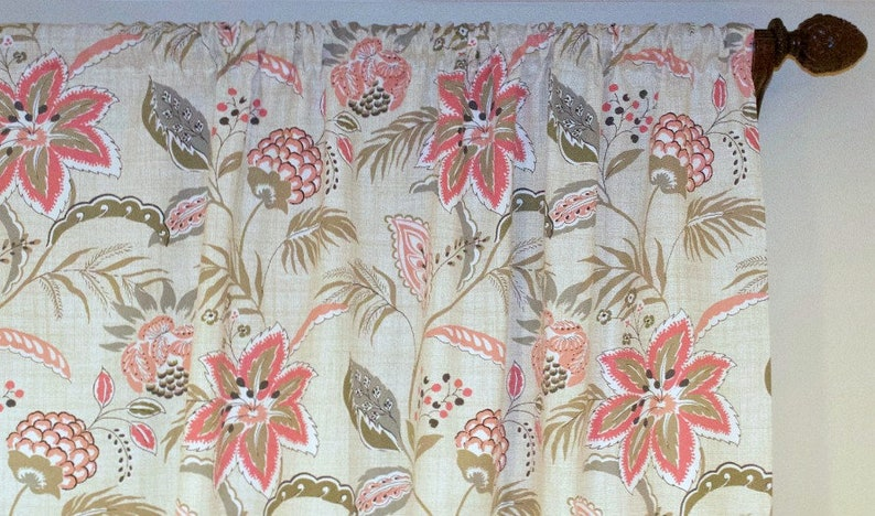 Floral Coral Curtains Pair Of Rod Pocket Panels Magnolia Etsy