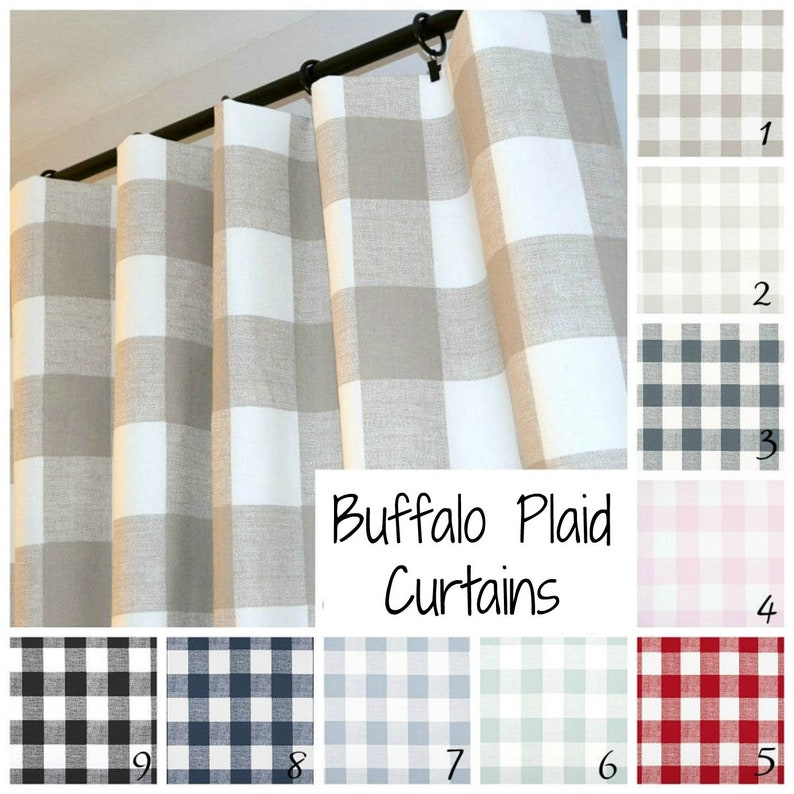 Farmhouse Buffalo Check Plaid Curtains Pair Of Rod Pocket Etsy