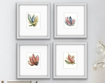 Set 4 Original Abstract Flower Paintings