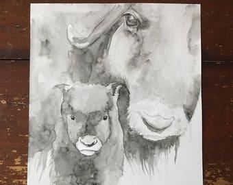 11x14 Original Buffalo Bison With Calf Watercolor