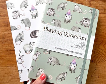 Playing Opossum or Possum Notebook Pad Woodland, Art, Stationary Softcover Lined Pocket, Gift, Rescue, Wildlife, woodland, school, journal