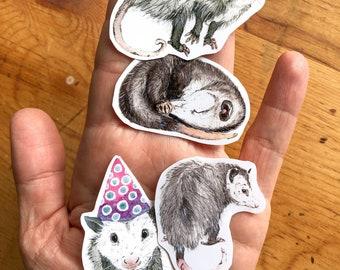 4 Stickers Possum Opossum Planner, Craft, Vinyl Art Birthday