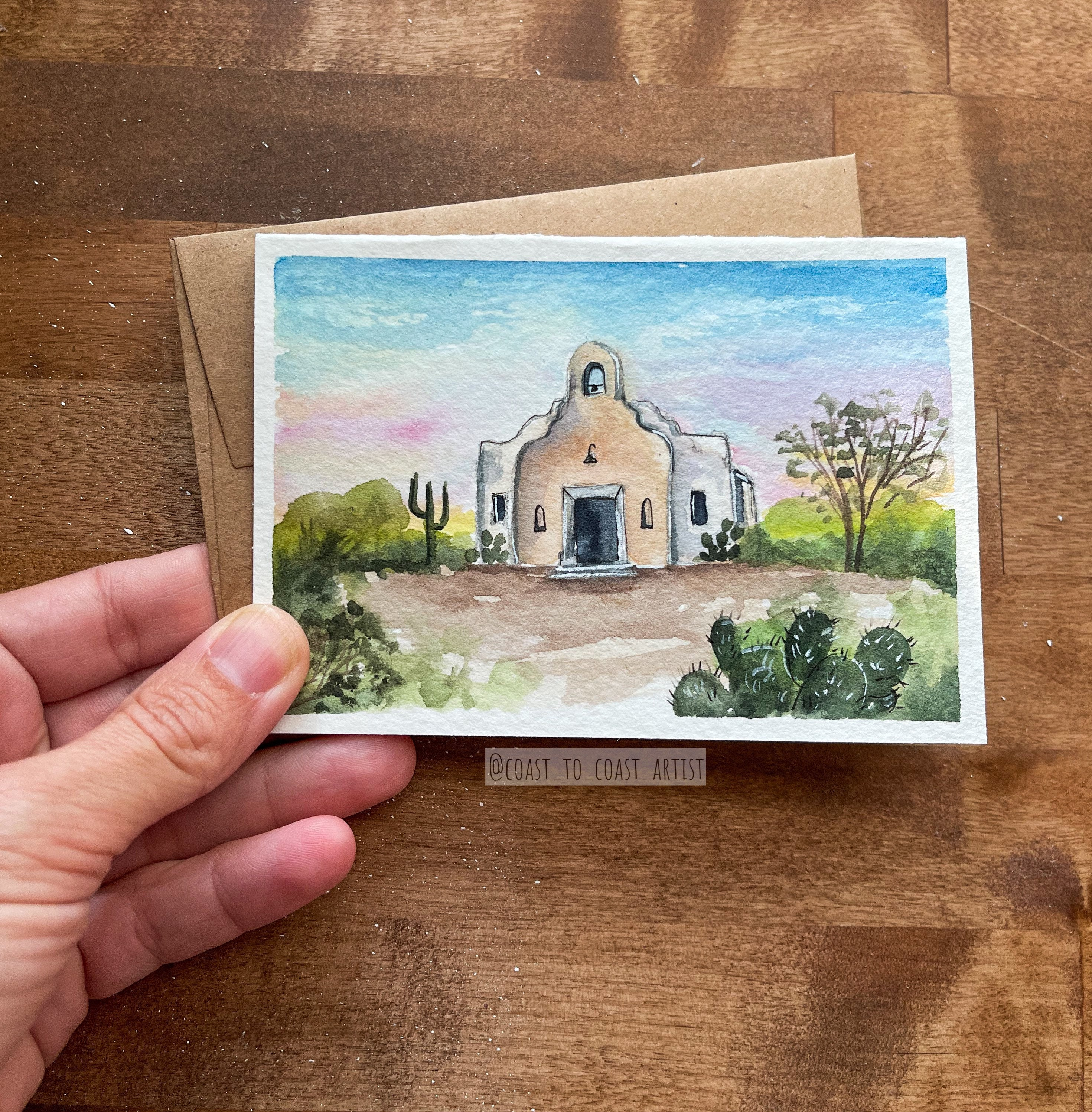 Original Chapel Church Desert Sonoran Mini Greeting Card