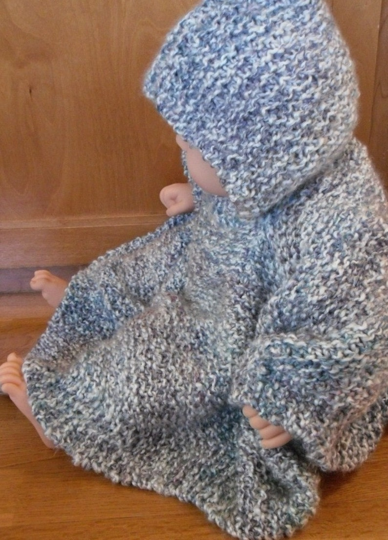 PATTERN Knit Hooded Baby Poncho size 6 months to 2 years ...