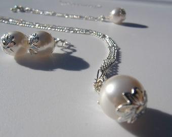 Bridal Swarovski Crystal Pearl Necklace - Ariel - Style 1