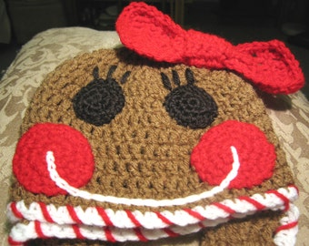 Yummy Gingerbread Girl Hat with Earflaps