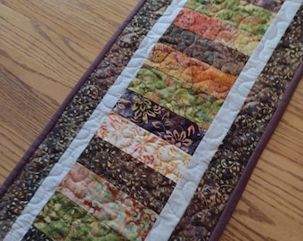 Quilted Table Runner, Batik Table Runner, Brown Green Gold and Orange Batik Runner, Quilted Table Runner, 13 x 41 1/2 inches