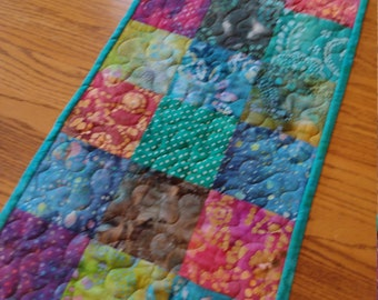 Quilted Table Runner, Batik Runner, Turquoise and Multi Colors Table Runner, 14 x 39 1/2 inches