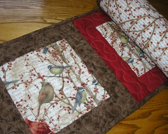 Quilted Table Runner, Quilted Cardinal Table Runner, Birds Runner,Quilted Bird Runner, 12 x 56 inches