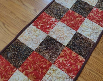 Quilted Table Runner, Batik Runner, Brown and Orange Batik Table Runner, Fall Batik Runner, 14 x 40 inches