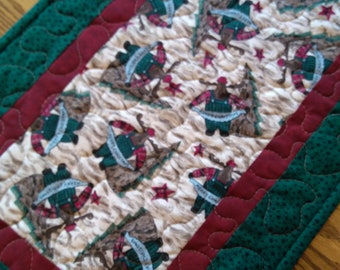 Quilted Christmas Table Runner, Christmas Moose Runner, Christmas Runner,  Xmas Moose Runner, 14 1/2 x 41 inches