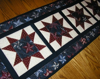 Quilted Table Runner, Quilted Star Runner, Patriotic  Runner, 14  x 39 1/2 inches