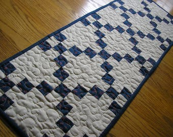 Quilted Table Runner, Irish Chain in Navy Blue, 13 1/2 x 38 1/2
