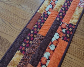 Quilted Table Runner, Fall Quilted Table Runner,  Quilted Brown and Orange Runner, 12 1/2 x 40 inches