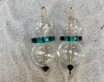 Sea Green/ Black with Blown Bubble Earrings