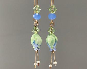 Pale Blue Glass Flower Earrings