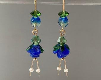 Blue Lamp Work Glass Flower Earrings