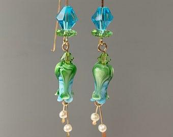 Aqua Glass Tulip Earrings