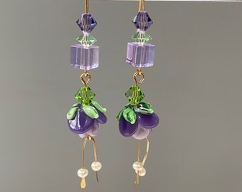 Handmade Lamp Work Glass Flower Earrings