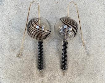 Striped Venetian Blown Balls/Handblown Glass Stick Bead Earrings