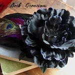 Dark Enchantress Hair Clip Fascinator - Black, Peony, Belly Dance, Steampunk, Witch, Cosplay, Feather, Peacock, Purple