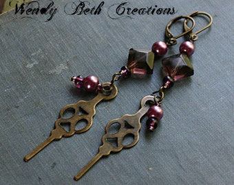 Mauve Pearl Clock Hand Steampunk Earrings - Brass, Purple, Pink, Glass, Belly Dance, Fashion