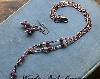 Plum Polka Dot Necklace and Earring Set - Purple, Copper, Steampunk, Glass, Bead, Fashion, Jewelry