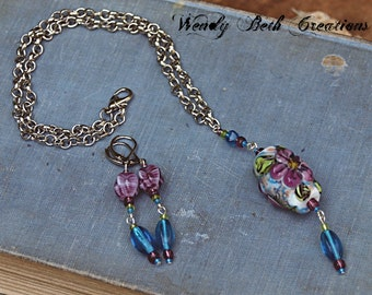 Wild Rose Necklace and Earring Set - Handmade Lampwork Glass Bead, Flower, Blue, White, Purple, Silver