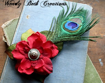 Simple Deep Red Gardenia with Kuchi Button Center Hair Clip Fascinator - Tribal, Belly Dance, Fairy, Renaissance Festival, Peacock Feather
