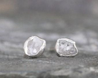Raw Diamond Earrings - Rough Uncut Diamond - Sterling Silver Stud Earring - Rustic Round Gemstone - April Birthstone - Conflict Free Diamond