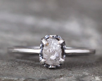 Raw Diamond Engagement Ring - Scroll Detail  - Sterling Silver - Solitaire Uncut Rough Diamond Rings - Made in Canada - Modern Rustic