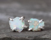 Raw Opal Earrings - Uncut Raw Rough Opal Earring - Sterling Silver Stud Style - Rustic Shape - October Birthstone - Raw Gemstone Earrings