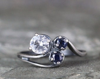 Sapphire Trio Ring - 3 Stone Rings - White and Blue Sapphire Ring - Sterling Silver - Anniversary Ring - September Birthstone