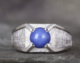 Star Blue Sapphire Men's Ring - 14K White Gold - September Birthstone Rings - Circa 1980's - Estate Jewellery from A Second Time