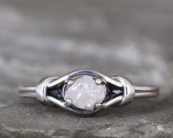 Knot Engagement Ring set with Natural Raw Rough Uncut Diamond - Diamond Rings - Sterling Silver - Rustic - Made in Canada