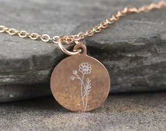 Birth Month Flower Pendant - Engraved Personalized Necklace - Stainless Steel in Rose, Yellow or White - Made in Canada