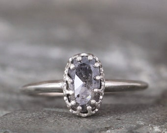 Salt and Pepper Diamond Engagement Ring - Rose Cut Diamond Rings - Sterling Silver - Crown Setting - Unique Diamond Ring