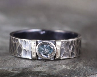 Blue Uncut Diamond Ring for Men - Black Sterling Silver & 14K White Gold Accent Bars - Rustic Texture - Wedding Band - Commitment Ring
