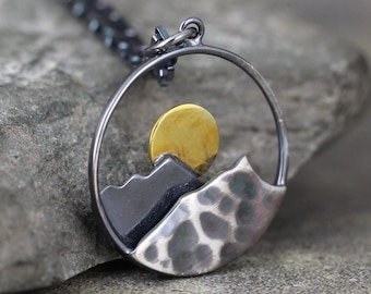 Mountain Sunrise Pendant - Large - Sterling Silver Rustic Necklace - Hiking Camping Outdoor Nature Inspired Jewellery
