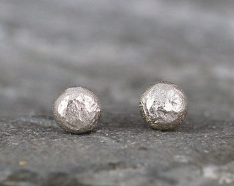 White Gold Nugget Earrings - Freeform Stud Earrings - 14K White Gold Nugget Earring - For Men or Women - Handmade Made in Canada