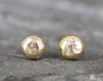 Gold Nugget Earrings - Freeform Stud Earrings - 14K Yellow Gold Nugget Earring - For Men or Women - Handmade Made in Canada